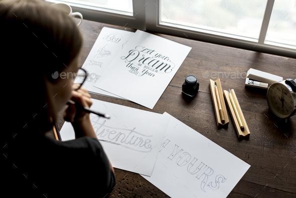Closeup of calligraphic artwork - Stock Photo - Images