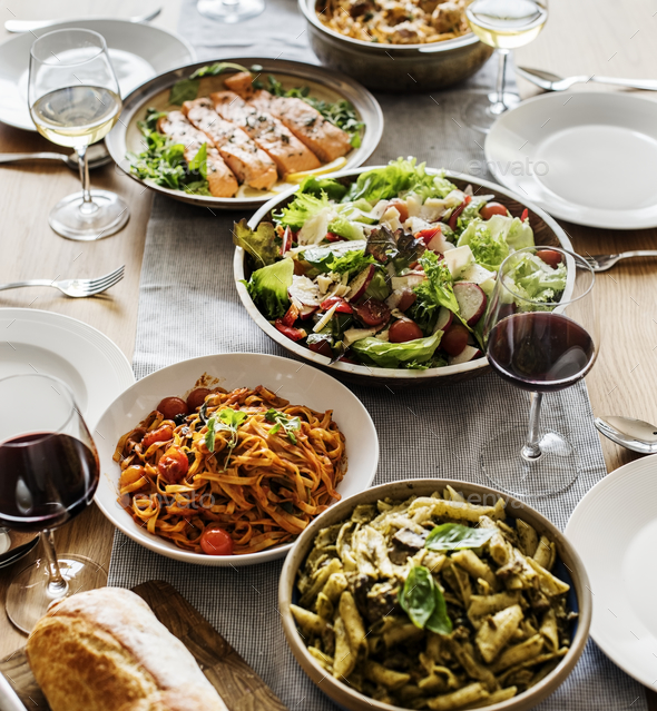 Closeup of Italian food dinner - Stock Photo - Images