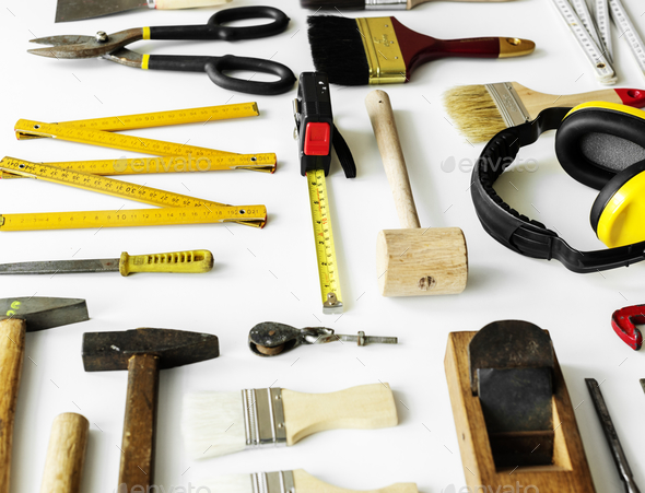 Flat lay of various technician tools isolated on white background - Stock Photo - Images