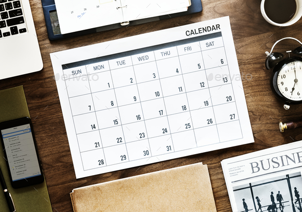Flat lay of business agenda - Stock Photo - Images