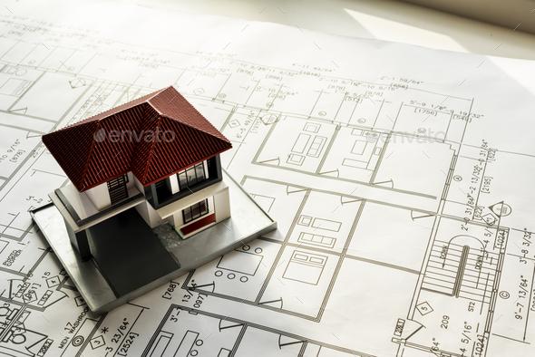 Closeup of house plan blueprint - Stock Photo - Images