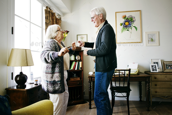 Senior couple dancing together - Stock Photo - Images