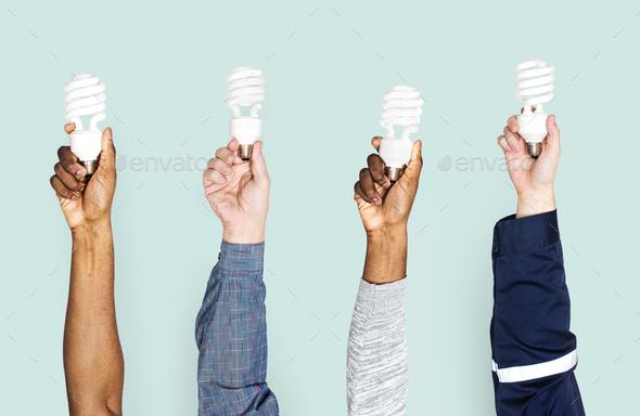Variation hands holding led lights - Stock Photo - Images