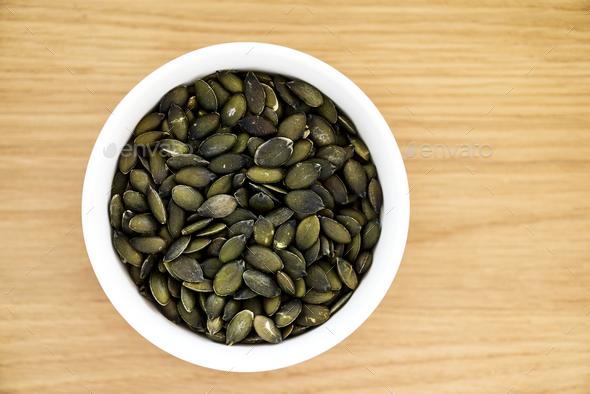 Closeup of pumpkin seeds - Stock Photo - Images