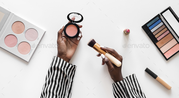 Beuty blogger testing cosmetics - Stock Photo - Images