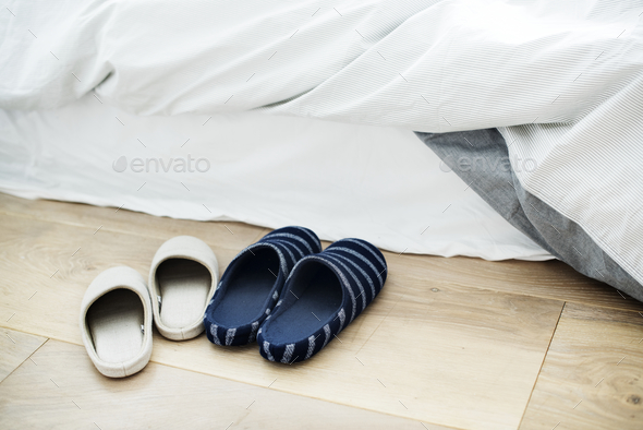 Two pairs of indoor slippers - Stock Photo - Images