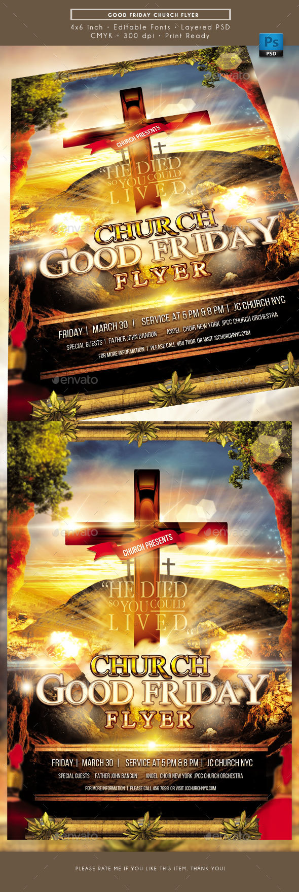 Good Friday Church Service Flyer - Church Flyers