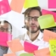 Man Post in Sticky Note While Meeting in Office on the Sticker Is Written YES - VideoHive Item for Sale