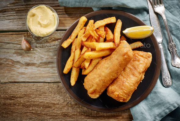 plate of fish and chips - Stock Photo - Images