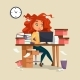 Downlaod Woman in Office Stress Vector Illustration