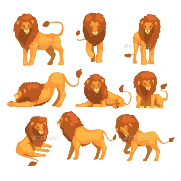 Proud Powerful Lion Character in Different Actions - Animals Characters