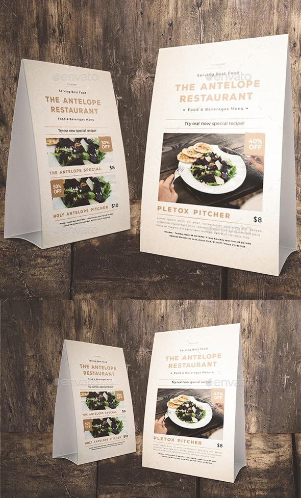 Classic Restaurant Table Tent - Food Menus Print Templates