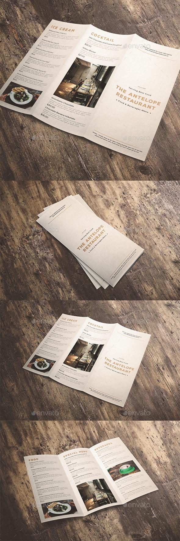 Classic Trifold Brochure Menu - Food Menus Print Templates