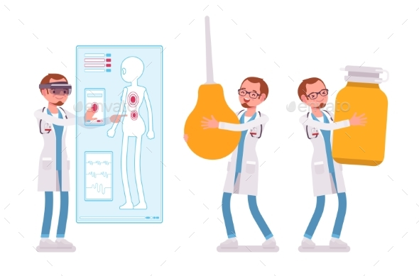 Male Doctor and Giant Things - Health/Medicine Conceptual