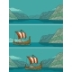 Drakkar Floating on the Fjord in Norway. Vintage - GraphicRiver Item for Sale