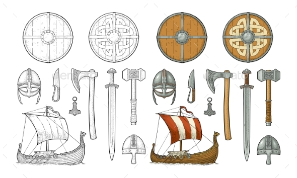 Set Viking. Knife, Drakkar, Axe, Helmet, Sword - Buildings Objects