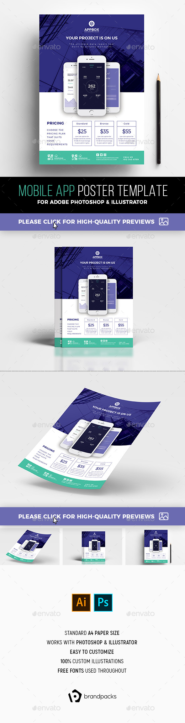 A4 Mobile App Poster Template v2 - Corporate Flyers