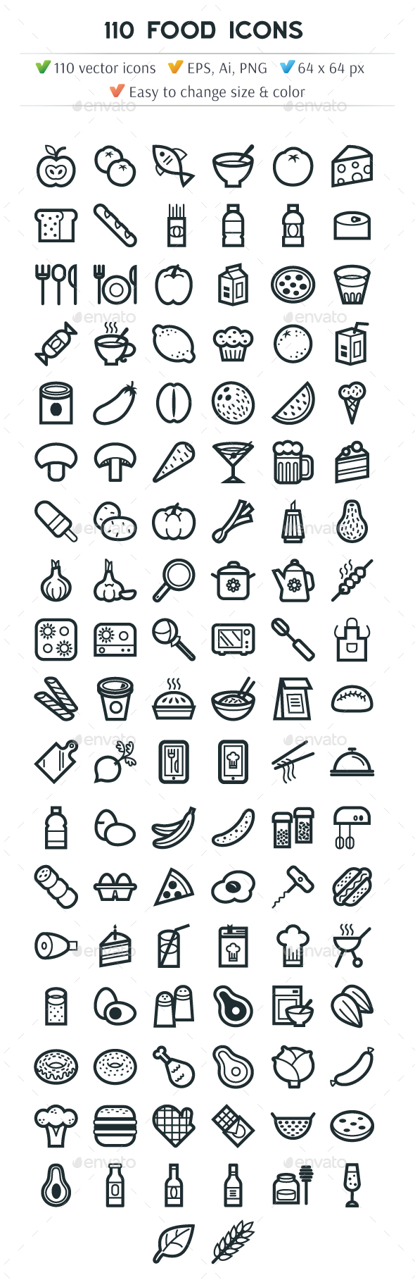 110 Food Icons - Food Objects