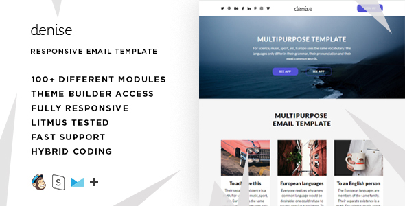 Denise – 100+ Modules - Responsive Email + StampReady Builder & Mailchimp Editor - Email Templates Marketing