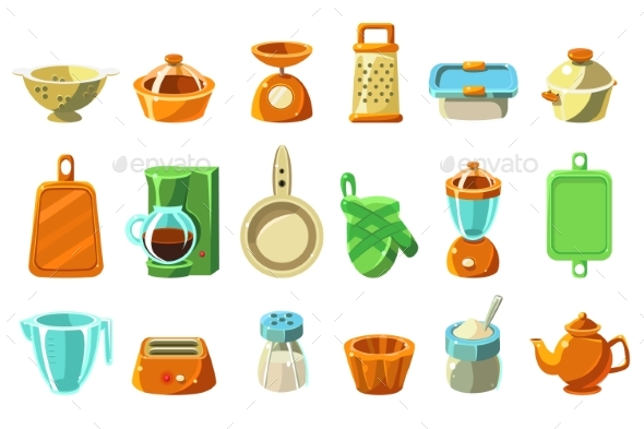 Kitchenware Sett, Kitchen Utensils, Cookware f - Miscellaneous Vectors
