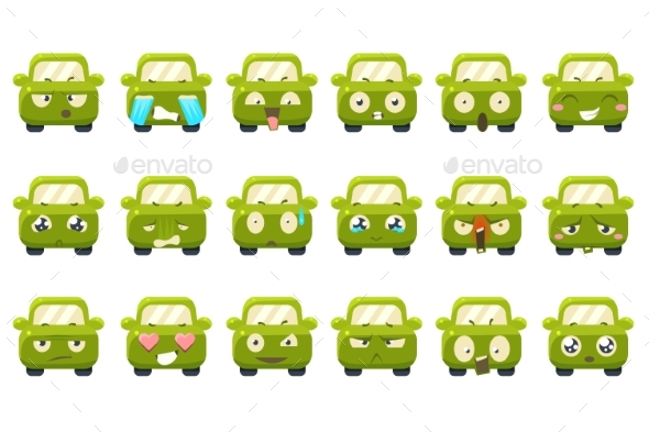 Green Car Cartoon Characters Showing - Man-made Objects Objects