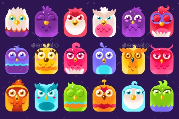 Colorful Birds Sett with Different Emotions - Animals Characters