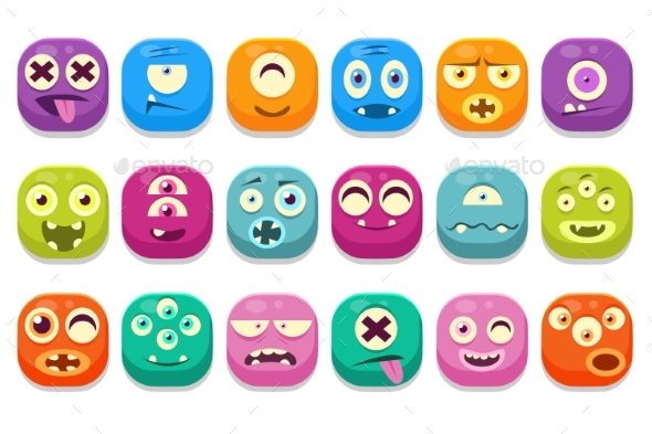 Colorful Buttons Emoticons - Miscellaneous Vectors