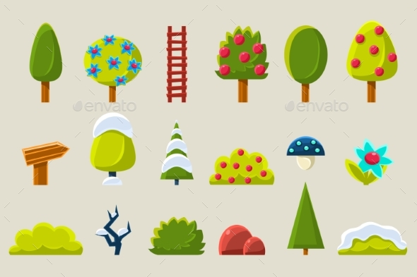 Trees and Plants in Different Setasons Sett, Fruit - Flowers & Plants Nature