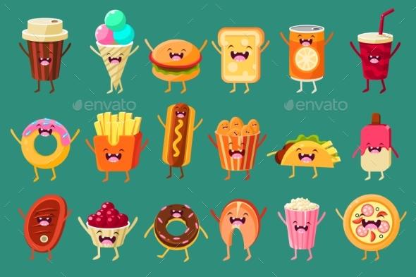 Fast Food Comic Characters Sett - Food Objects