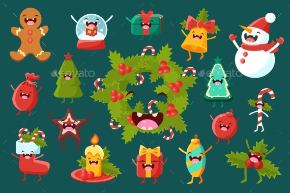 Christmas Symbols Comic Characters Sett, Happy New - Seasons/Holidays Conceptual