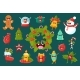 Christmas Symbols Comic Characters Sett, Happy New