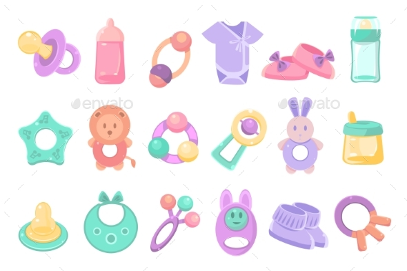 Toys and Accessories for Baby Sett, Newborn Infant - Objects Vectors