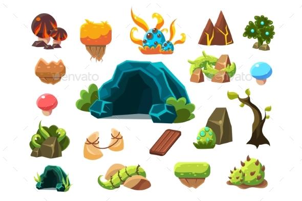 Fabulous Cave, Trees, Plants, Mushrooms, Design - Flowers & Plants Nature