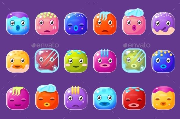 Colorful Buttons Emoticons Sett  - Miscellaneous Vectors