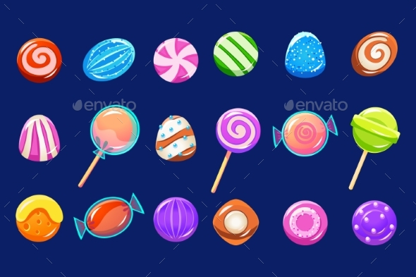 Candies Sett, Glossy Sweets of Different Colors - Objects Vectors