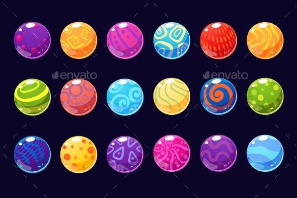 Glossy Colored Balls Sett of Vector Illustrations - Miscellaneous Vectors
