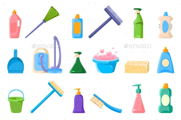 Cleaning Supplie Sett, Tools for Cleaning Vector - Miscellaneous Vectors