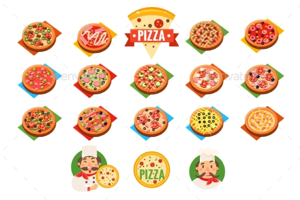 Pizza Sett, Popular Varieties of Pizzas Vector - Food Objects