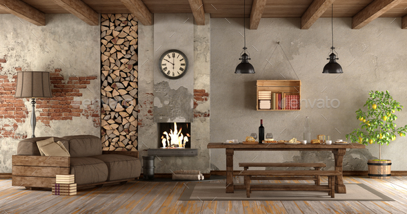 living room with fireplace in rustic style - Stock Photo - Images