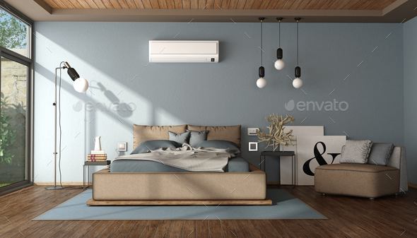 Modern blue and brown master bedroom - Stock Photo - Images