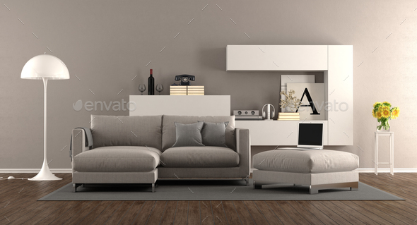 Modern living room with sofa - Stock Photo - Images