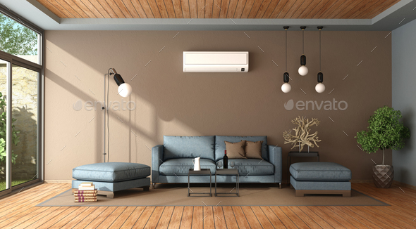 Blue and brown living room with air conditioner - Stock Photo - Images