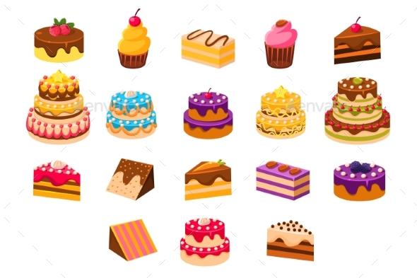 Cakes Sett, Sweet Dessetrts, Baked Cakes - Seasons/Holidays Conceptual