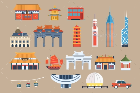 Symbols of Hong Kong Sett, Chineset Landmarks - Buildings Objects