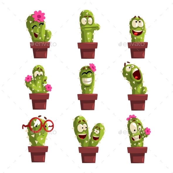 Potted Cactus Characters Set - Flowers & Plants Nature