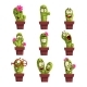 Potted Cactus Characters Set