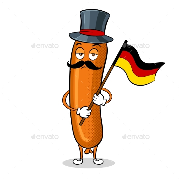 Bavarian Sausage Pop Art Vector Illustration - Food Objects