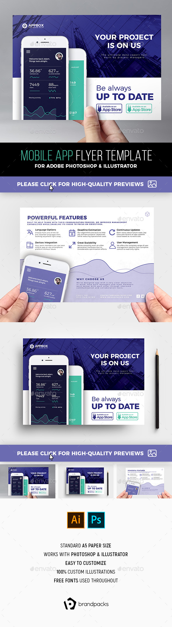 Mobile App Flyer Template - Corporate Flyers