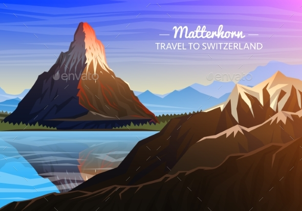 Mountain Matterhorn Evening Panoramic View - Landscapes Nature