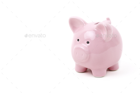Pink piggybank on a white background  - Stock Photo - Images